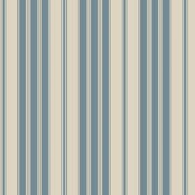 Haven (Cotton) - 3 - A regular pattern of dusky blue and stone coloured stripes printed on cotton fabric