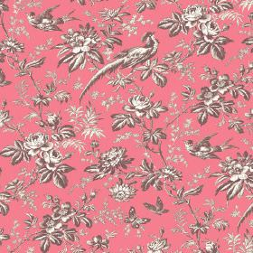 Autumn Garden (Linen Union) - 1 - Rose pink coloured linen fabric printed with a grey and white design of exotic birds, butterflies, flowers