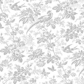 Autumn Garden (Linen Union) - 10 - Linen fabric in light grey and white, featuring a pattern of shaded exotic birds, flowers, leaves and but