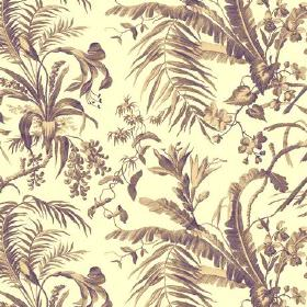 Tropical Garden (Cotton) - 6 - Large leaves shaded in brown-green printed on a background of yellow-cream coloured cotton fabric