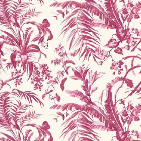 Tropical Garden (Cotton) - 7 - Cotton fabric in white, covered with a pattern of large, cherry coloured leaves