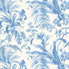 Tropical Garden (Cotton) - 8 - A pattern of large leaves in shades of blue covering white cotton fabric
