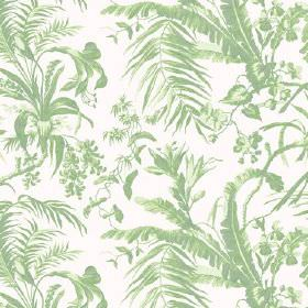 Tropical Garden (Linen Union) - 9 - White linen fabric featuring a pattern of large leaves shaded in green