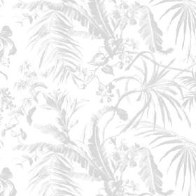 Tropical Garden (Linen Union) - 10 - Light grey and white linen fabric with a large, subtle leaf pattern