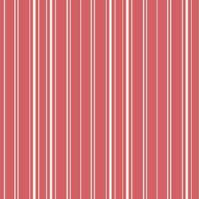 Toile Stripe Reverce (Linen Union) - 1 - Linen fabric in a coral colour, printed with narrow, vertical white stripes