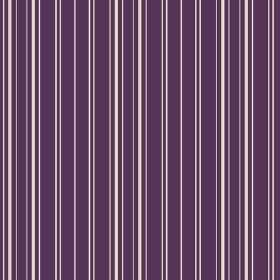Toile Stripe Reverce (Cotton) - 3 - Narrow white stripes of slightly different widths printed on a bright, Royal purple cotton fabric backgr