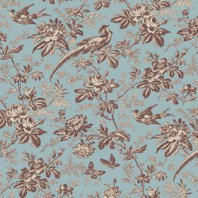 Autumn Garden (Linen Union) - 2 - Butterflies, birds, flowers and leaves shaded in brown and cream, printed on blue linen fabric
