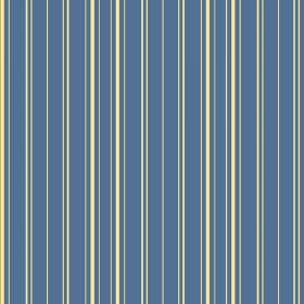 Toile Stripe Reverce (Linen Union) - 5 - Light yellow stripes printed on a marine blue linen fabric background