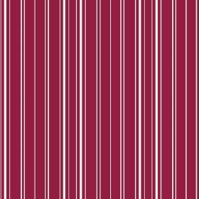 Toile Stripe Reverce (Linen Union) - 7 - Dark pink linen fabric striped with narrow, vertical bands of white