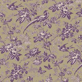 Autumn Garden (Cotton) - 3 - Birds, butterflies, leaves and flowers shaded in purple and cream, printed on a background of brown cotton fabr