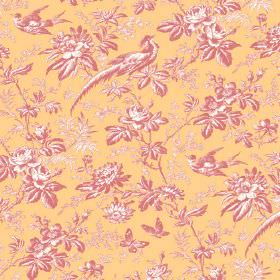 Autumn Garden (Linen Union) - 4 - Mustard-gold coloured linen fabric beneath a bird, butterfly, floral and leaf print pattern in pink and wh