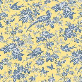 Autumn Garden (Linen Union) - 5 - Flowers, leaves, birds and butterflies in shades of blue and grey on a yellow linen fabric background