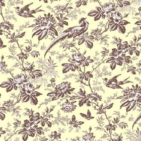 Autumn Garden (Linen Union) - 6 - A pattern of brown and white leaves, butterflies, birds and flowers on fabric made from cream coloured lin