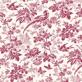 Autumn Garden (Cotton) - 7 - Patterned cotton fabric with exotic birds, leaves, flowers and butterflies shaded in cherry red and white