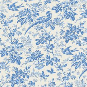 Autumn Garden (Linen Union) - 8 - Shaded flowers, butterflies, leaves and birds in white and cobalt blue printed on linen fabric