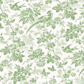 Autumn Garden (Linen Union) - 9 - White linen fabric patterned with a busy design of light green flowers, exotic birds, butterflies and leav