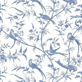 Nouvelles (Linen Union) - 1 - White linen fabric patterned with denim blue coloured birds, branches and leaves