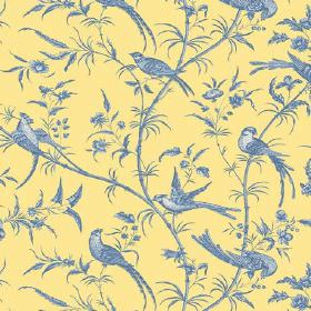 Nouvelle Toile (Linen Union) - 5 - Linen fabric with a pattern of blue and white birds, branches and leaves on a yellow background