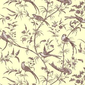 Nouvelle Toile (Linen Union) - 6 - Cream linen fabric printed with brown and white birds, leaves and long branches