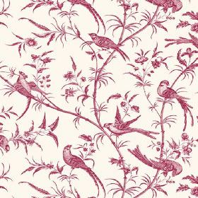 Nouvelle Toile (Linen Union) - 7 - Birds, long branches and small leaves printed in cherry red on fabric made from white linen