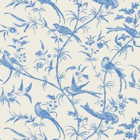 Nouvelle Toile (Cotton) - 8 - Cobalt blue and white cotton fabric with a shaded design of birds, branches and leaves