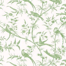 Nouvelle Toile (Linen Union) - 9 - A pattern of light green branches, birds and leaves on linen fabric in white