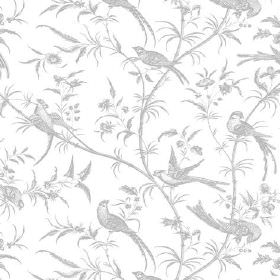 Nouvelle Toile (Cotton) - 10 - White cotton fabric printed with a subtle grey pattern of birds, branches and small leaves