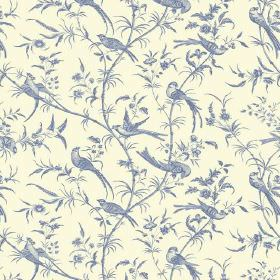 Nouvelle Toile (Linen Union) - 11 - Cream and dusky blue coloured linen fabric with a pattern of leaves, birds and branches