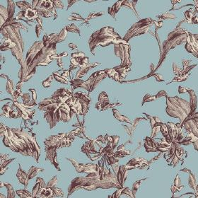 Lilies Toile (Linen Union) - 2 - Linen fabric in dusky blue, with a large leaf pattern in shades of dark grey and white