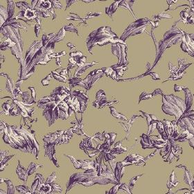 Lilies Toile (Cotton) - 3 - Green-grey fabric made from cotton, with a large pattern of purple and white shaded leaves