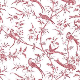 Nouvelles (Cotton) - 2 - A pattern in a dusky red colour featuring birds, branches and leaves on white cotton fabric