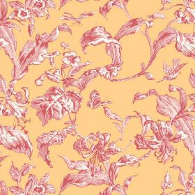 Lilies Toile (Cotton) - 4 - Leaves shaded in light pink-red and white against a background of golden yellow coloured linen fabric