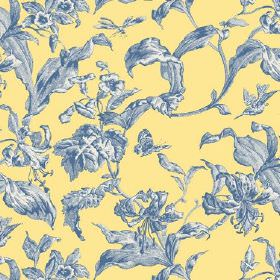 Lilies Toile (Cotton) - 5 - Yellow cotton fabric covered in a design of large blue and white shaded leaves