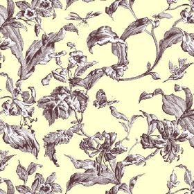 Lilies Toile (Linen Union) - 6 - Light cream-yellow linen fabric printed with large leaves in brown and white shades
