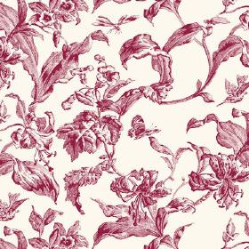 Lilies Toile (Linen Union) - 7 - White linen fabric as a background for a design of large, cherry red coloured shaded leaves