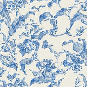 Lilies Toile (Linen Union) - 8 - Cobalt blue coloured leaves on a white background made from linen