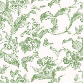 Lilies Toile (Cotton) - 9 - White cotton fabric with a large pattern of shaded light green leaves