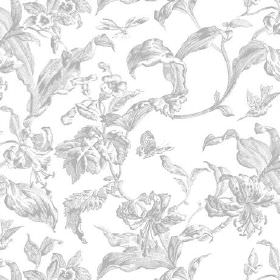 Lilies Toile (Cotton) - 10 - White cotton fabric subtly patterned with large leaves in shades of grey