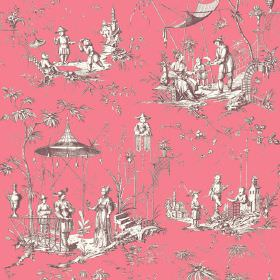 Chinoiserie (Cotton) - 1 - Oriental style cotton fabric in pink, with a pattern of grey and white scenes including people, pagodas and trees