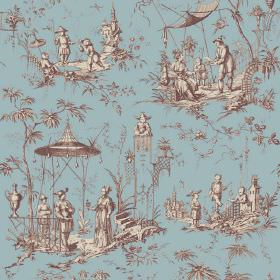 Chinoiserie (Linen Union) - 2 - Blue linen fabric patterned with Oriental style designs of people and trees in shades of brown and cream