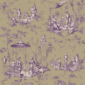 Chinoiserie (Linen Union) - 3 - Purple and white people, pagodas and trees in an Oriental style printed on a green-grey linen fabric backgro
