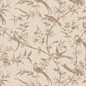 Nouvelles (Linen Union) - 3 - A brown pattern of birds, leaves and branches printed on a beige linen fabric background