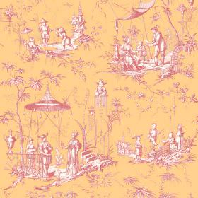 Chinoiserie (Linen Union) - 4 - Fabric made from linen in golden yellow, with an Oriental style pattern of people and trees and pink and whi