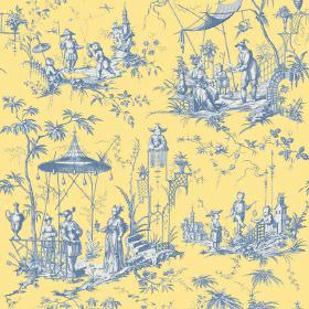 Chinoiserie (Cotton) - 5 - Blue and white shaded scenes of Oriental style pagodas, trees and people on a background made from yellow cotton