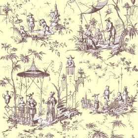 Chinoiserie (Cotton) - 6 - Pale cream-yellow cotton fabric patterned with brown and white scenes of people, pagodas and trees in an Oriental