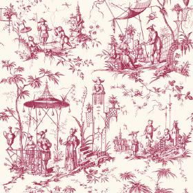 Chinoiserie (Linen Union) - 7 - Cherry red and white patterned fabric made from linen, with an Oriental style pattern of people, pagodas and