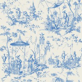 Chinoiserie (Linen Union) - 8 - Shaded blue people, pagodas and trees in an Oriental style printed on white linen fabric