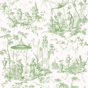 Chinoiserie (Linen Union) - 9 - Fabric made from light green and white linen, with a pattern of Oriental style people, pagodas and trees