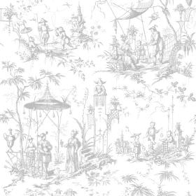 Chinoiserie (Linen Union) - 10 - Subtly patterned white and pale grey linen fabric, with Oriental style scenes of people, pagodas and trees