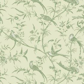 Nouvelles (Cotton) - 4 - Birds, branches and leaves on a plain cotton fabric background, all in different shades of green